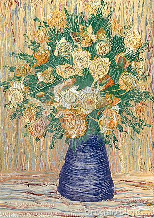 Beige roses in blue vase