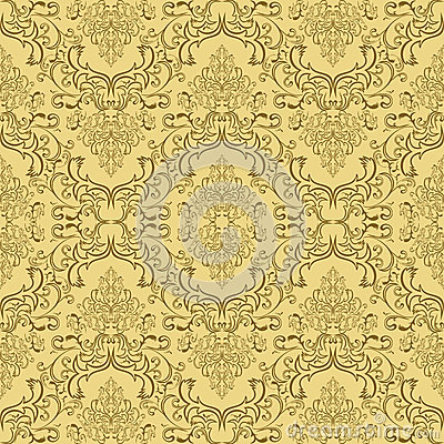 Beige seamless damask Pattern