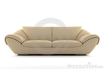 Beige sofa isolated on white