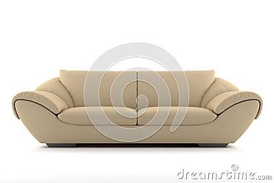 Beige sofa isolated on white