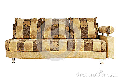 Beige sofa isolated on white background