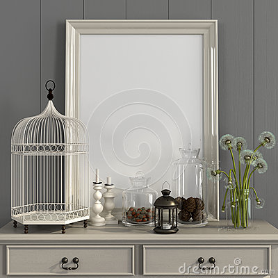 Free Beige Table With Poster Frame And Autumn Decorations Stock Photography - 61369112