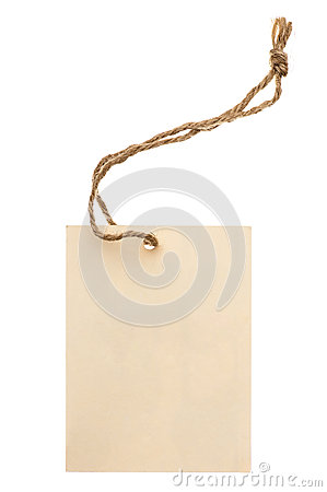 Beige tag isolated