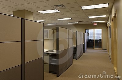 Beige Tan generic open Office work space cubicals