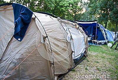 Beige tent at camp site