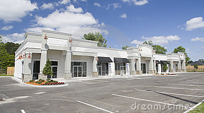 Beige toned commercial strip mall
