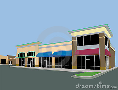 Beige toned strip mall