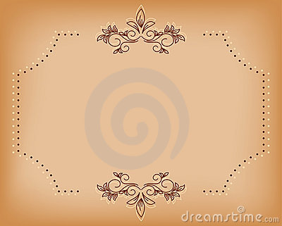Beige vector old card with brown tracery
