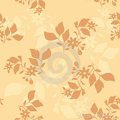 Beige vector seamless pattern with brown plants