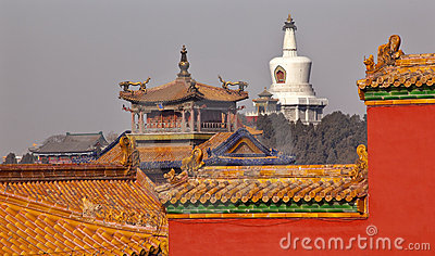 Beihai Stupa Yellow Roofs Forbidden City Beijing