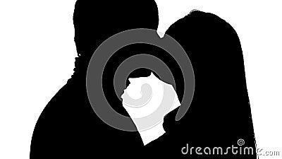 Beijar pares no estúdio vale a pena Silhueta Fundo branco Fim acima vídeos de arquivo