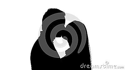 Beijar pares no estúdio vale a pena Silhueta Fundo branco Fim acima video estoque