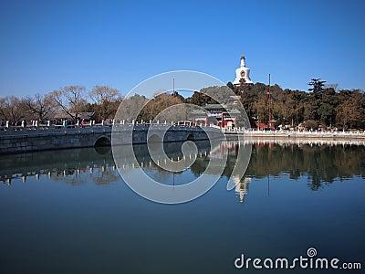 The Beijing Beihai Park White pagoda