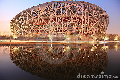 Beijing Bird s Nest at twilight Editorial Stock Image
