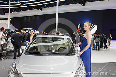 Beijing China April 27,female model in auto show Editorial Stock Image