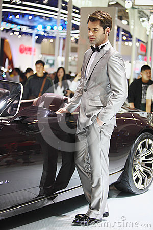Beijing China April 27,male model in auto show Editorial Stock Image