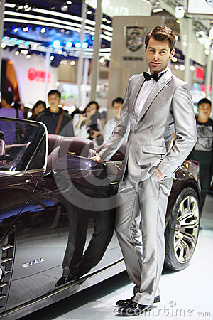 Beijing China April 27,male model in auto show Editorial Photo