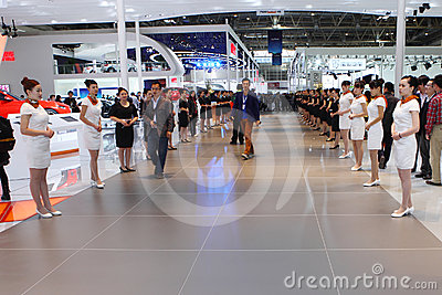 Beijing China April 27,Miss Manners in auto show Editorial Stock Image