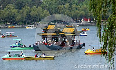 Beijing, China: Boating in Behei Park Editorial Stock Image