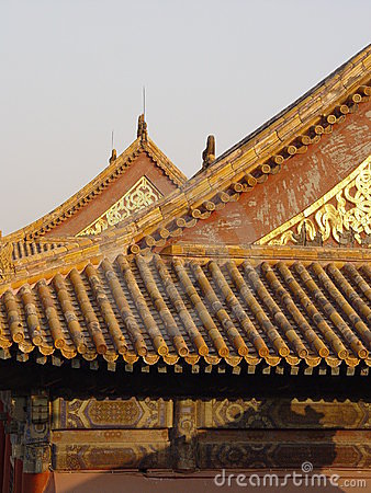 Free Beijing China - Glowing Roof Royalty Free Stock Image - 583116