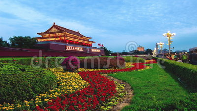 Beijing,China-Oct 6, 2014: From day to night at Tiananmen Square in Beijing, China. From day to night at Tiananmen Square in Beijing, China