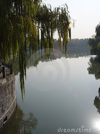 Free Beijing China - Willows And Lake In Beihai Park Stock Images - 585354