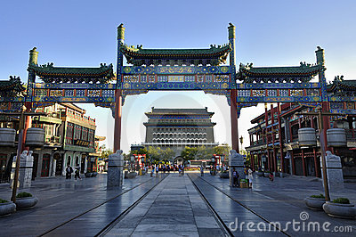 Beijing cityscape Qianmen commercial street。 Editorial Image