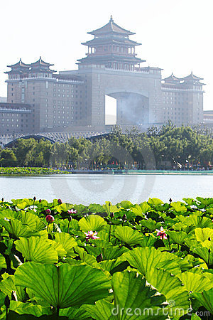 beijing classic building and lotus