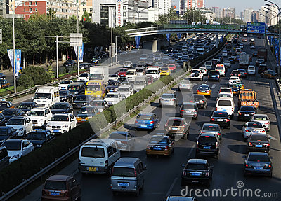 Beijing heavy traffic jam and cars Editorial Photo