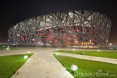 Beijing Olympic Stadium at Night Editorial Stock Photo