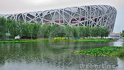 Beijing Olympic Stadium raining Editorial Image