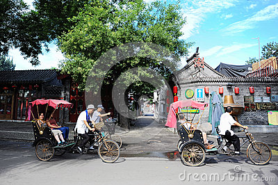 Beijing pedicab hutong tour Editorial Stock Photo