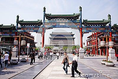 Beijing Qianmen Commercial Street。 Editorial Photo