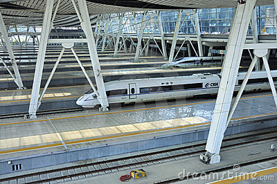 Beijing Railway Station,High Speed Rail Editorial Image