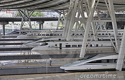Beijing Railway Station,High Speed ​​Rail Editorial Stock Photo