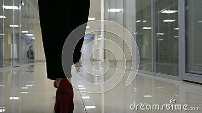 Beine und Füße Sonderkommando der Geschäftsfrau zuhause gehend in Büro stock video