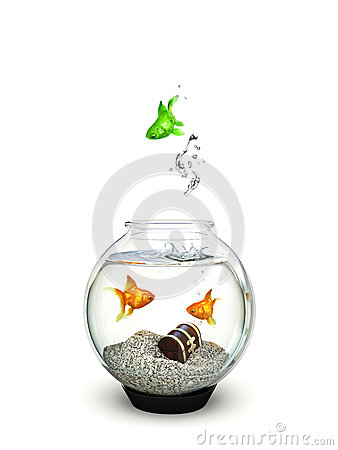 Different, Green fish jumping out of a fishbowl of ordinary goldfish.