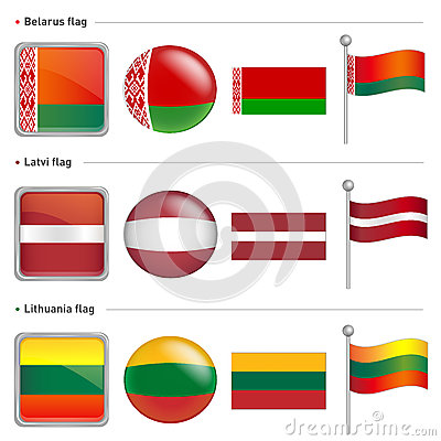 Belarus and Latvi, Lithuania Flag Icon. The world national Icon