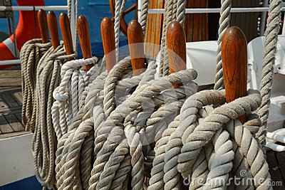 Belaying Pins, Secured Lines, Sailboat