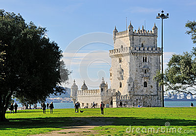 Belem tower and city park, Lisbon Editorial Stock Image
