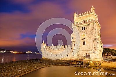 Belem tower at sunset. Lisbon, Portugal