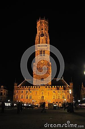 Belfry of Bruges at night