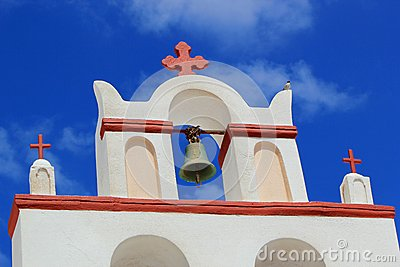 Belfry of a church, Oia, Santorini, Greece