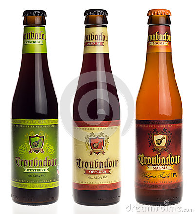 Free Belgian Beers Troubadour Westkust, Obscura And Magma Isolated On Royalty Free Stock Images - 69018699