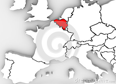 Belgium Country 3D Abstract Illustrated Map Europe Continent