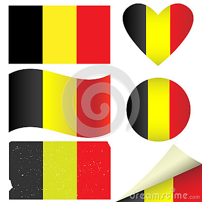 Belgium flags set