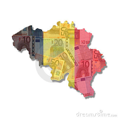 Belgium Map flag with euro