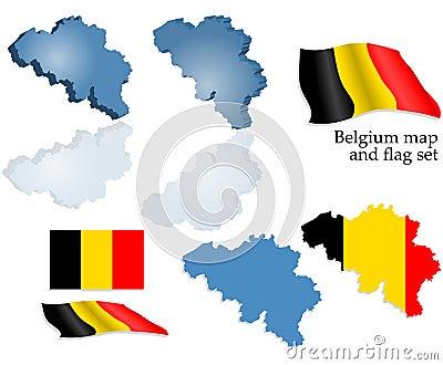 Belgium map and flag set