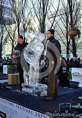 Belgium team at London Ice Sculpture Festival Editorial Stock Photo