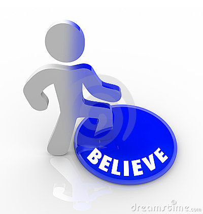 Free Believe - Person Steps Onto Button With Confidence Stock Images - 18377814